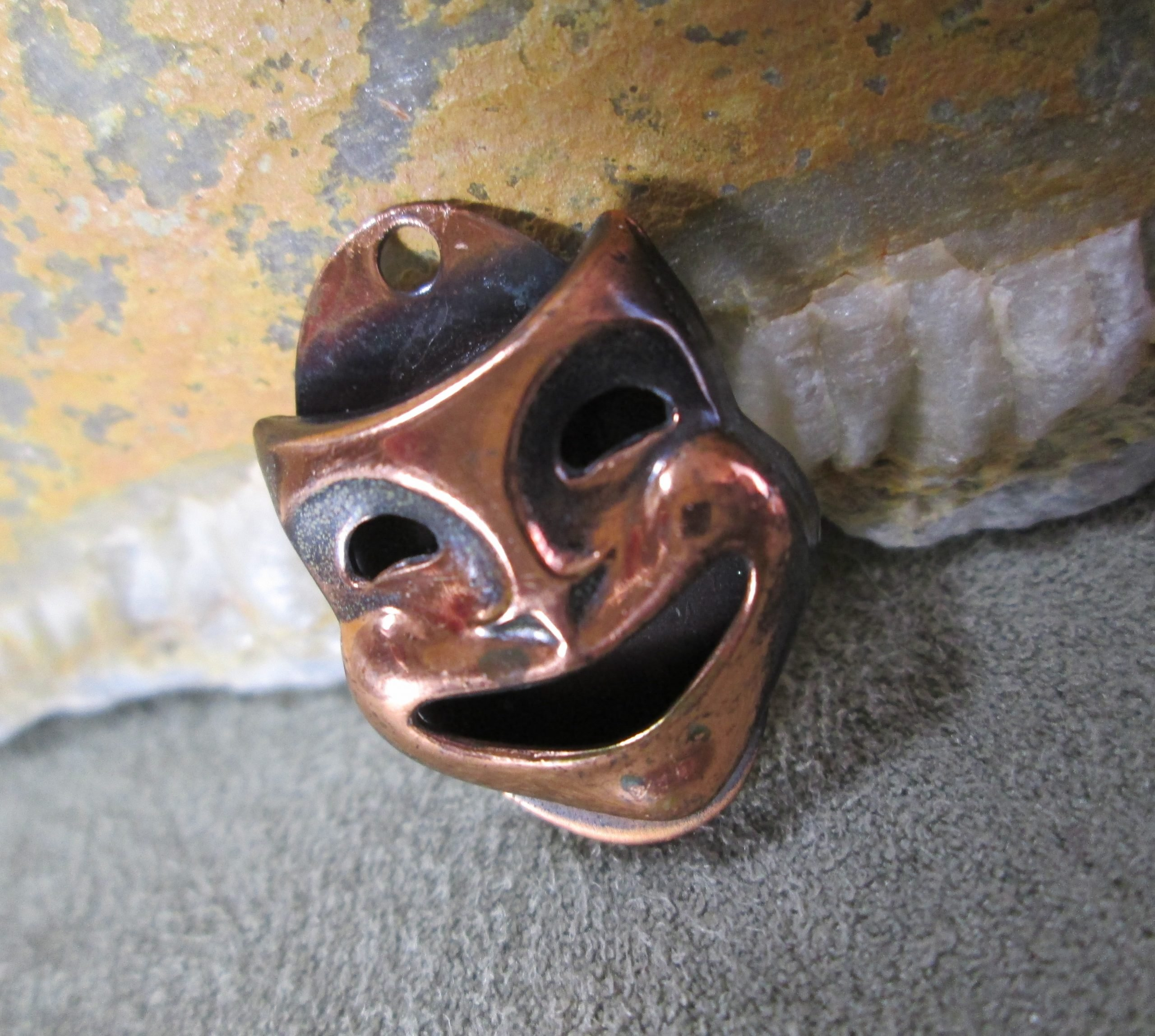 sock comedy theater mask copper bracelet charm