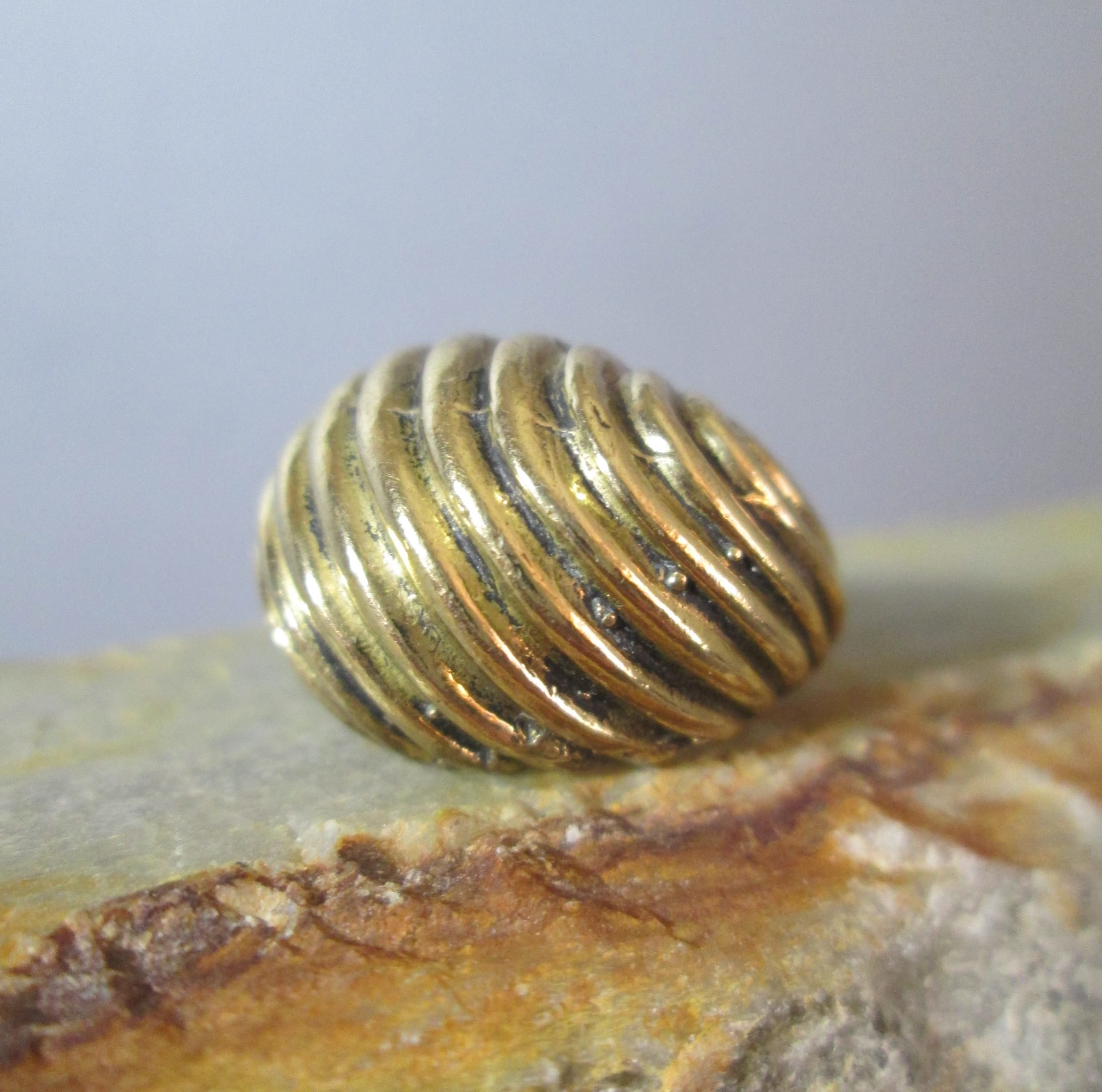 artisan hand cast bronze dome ring