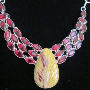 Garnet Jasper Lavaliere Necklace