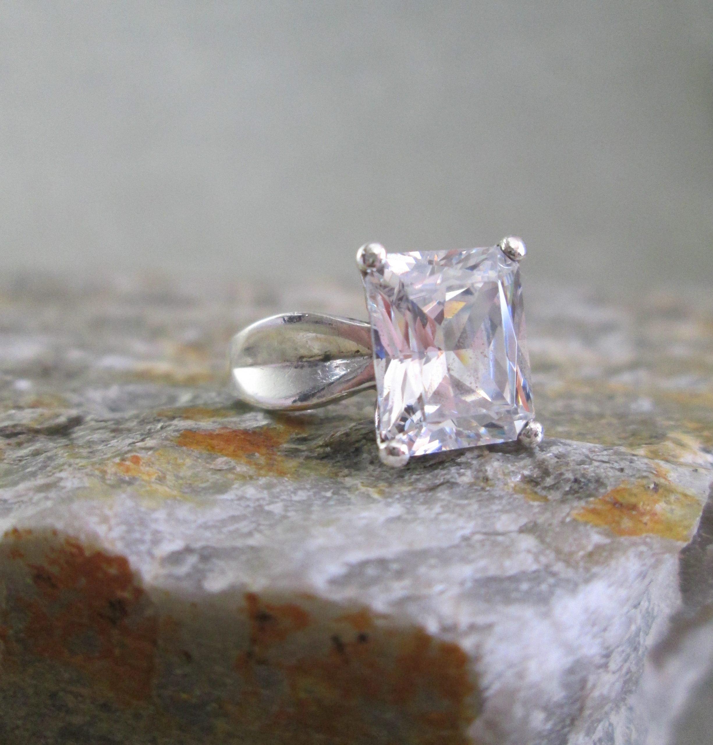Emerald Cut CZ Ring