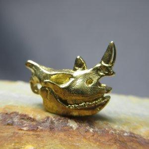 Brass Rhinoceros Skull Charm