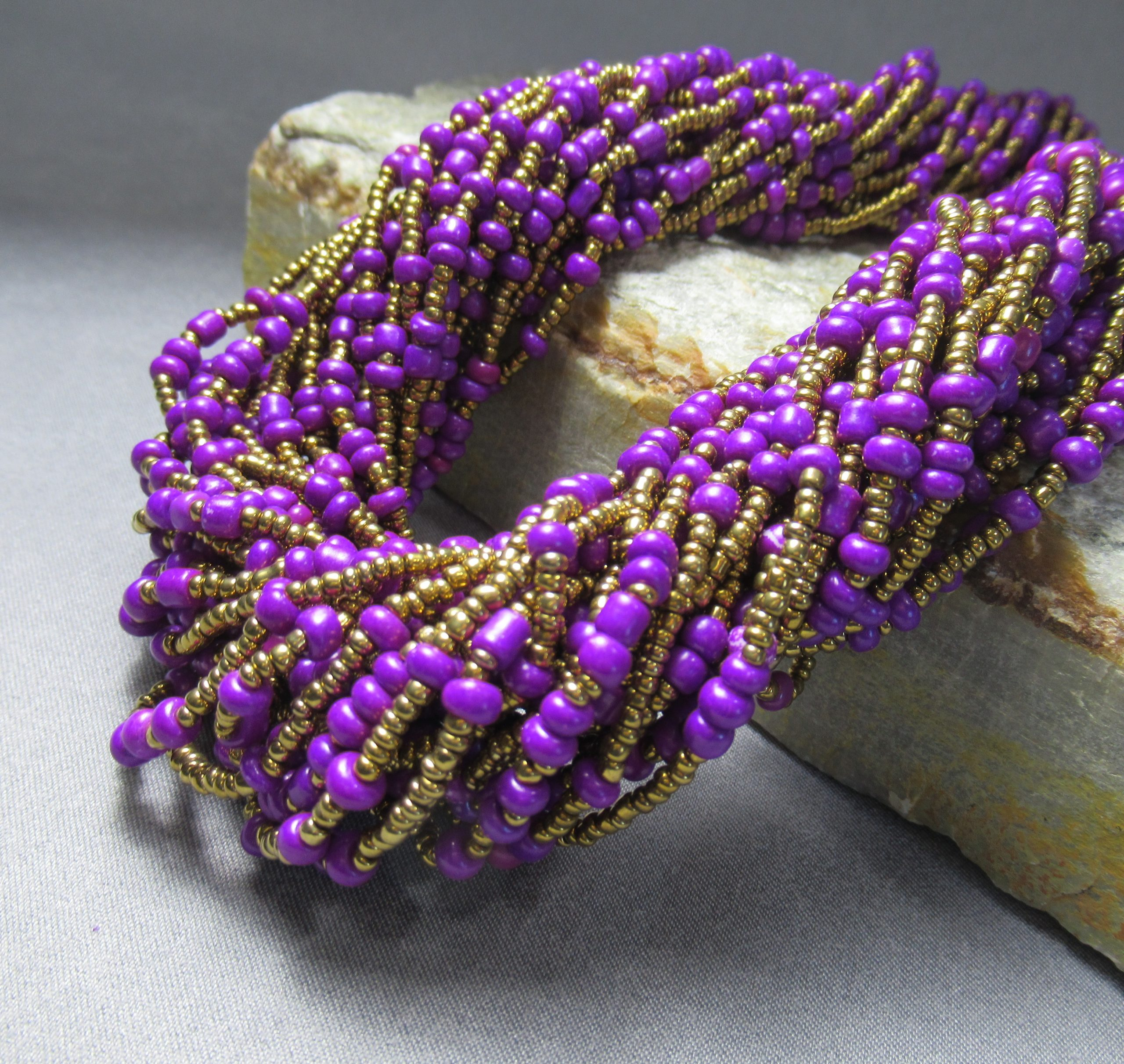 gold and purple glass beaded necklace