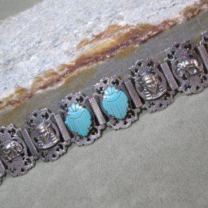 Sterling Silver Turkish Scarab Bracelet