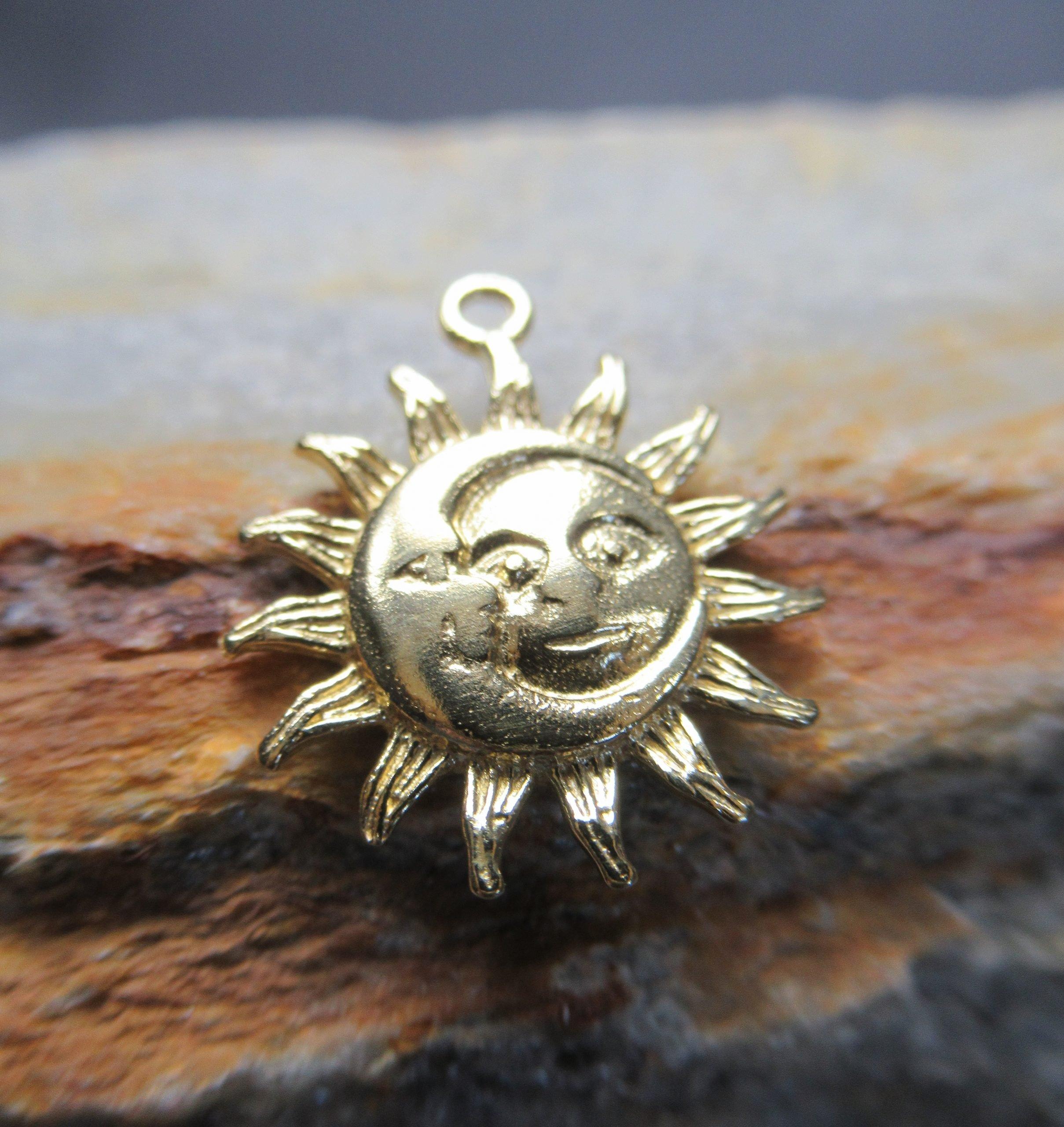 Golden Sun and Moon Charm