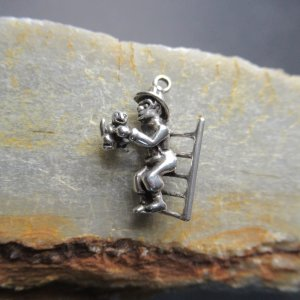 Silver Fire Fighter Charm