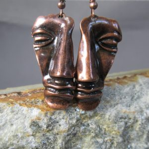 Burnished Copper Mask Earrings