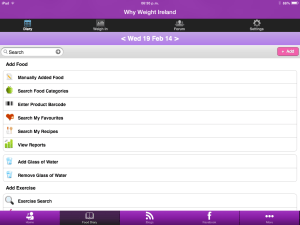 Why Weight Ireland Food Diary App