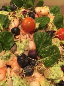Discipline - Spinach Prawn Salad Avocado Coriander Dressing