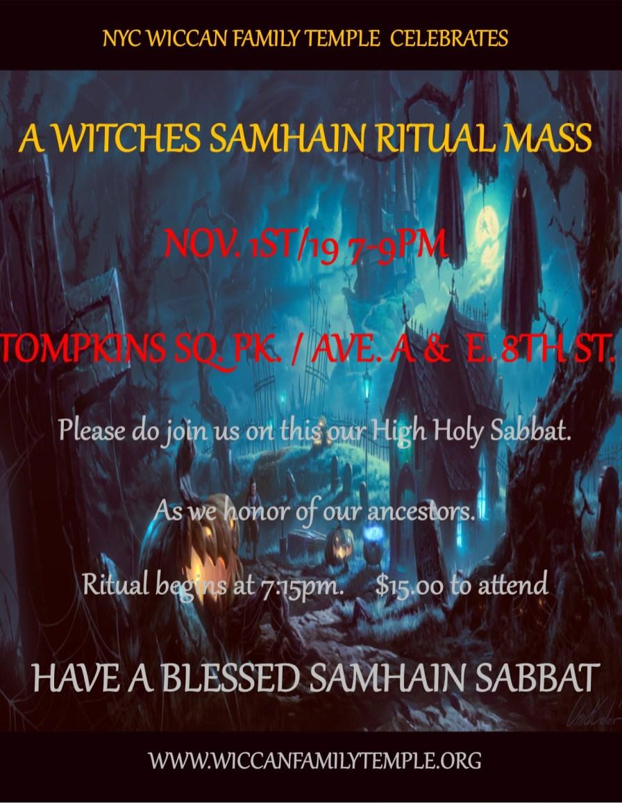 A Witches Samhain Celebration - Nov  1st/19 - The New York City