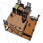 Top floor of the cabin with media room, two bedrooms and staircase