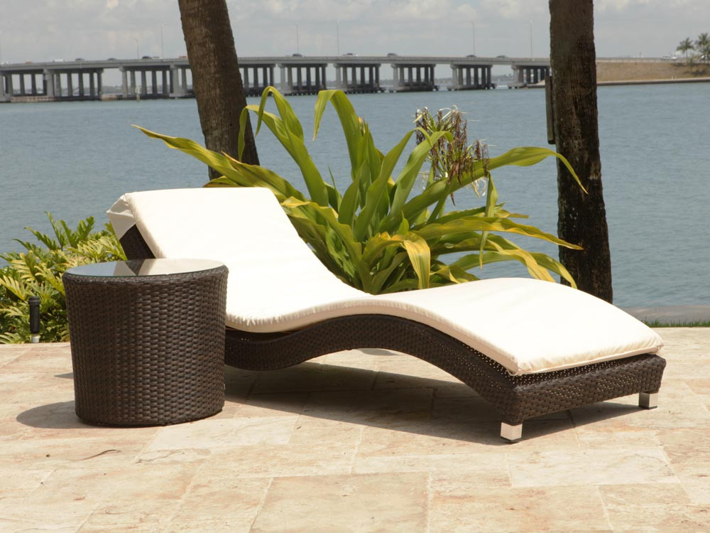Source Outdoor Wave 2 Piece Wicker Chaise Lounge Set