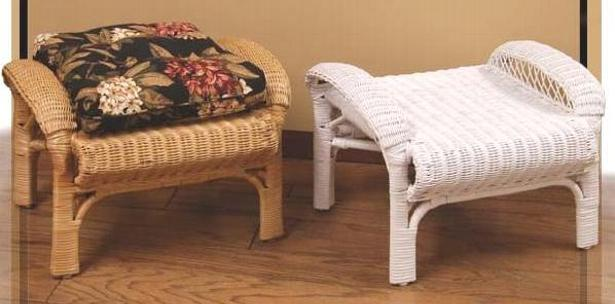 Wicker Storage Ottoman  Rattan Footstool