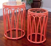 Cuba Accent Tables Aqua -Set of 2 with Glass - Wicker One ...