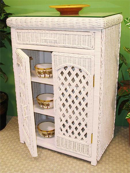 Single Lattice Wicker Cabinet