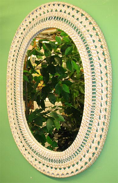 Fancy Oval Wicker Mirror