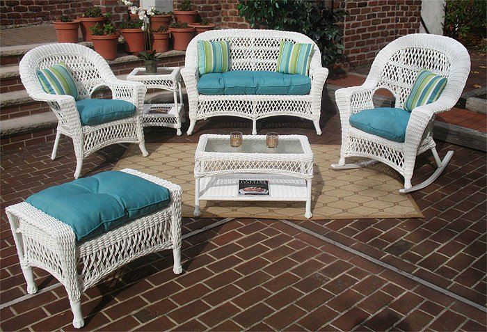 cushions for wicker chairs wooden glider chair and ottoman 4 piece madrid set with 2 white