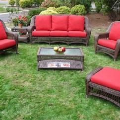 Resin Wicker Chair With Ottoman Wedding Covers Lancashire 6 Piece Palm Springs Furniture Set Sofa Rocker