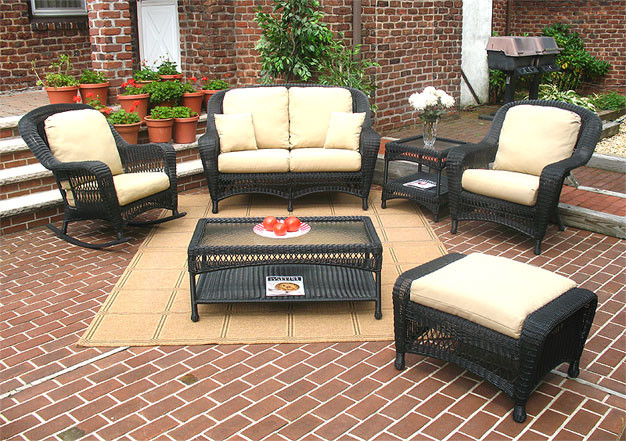 resin wicker chair with ottoman cushion covers target 6 piece palm springs furniture set love seat