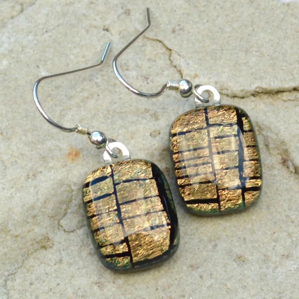 Wicksteads AWDesignsUK Golden Copper Sterling Silver Drop Earrings