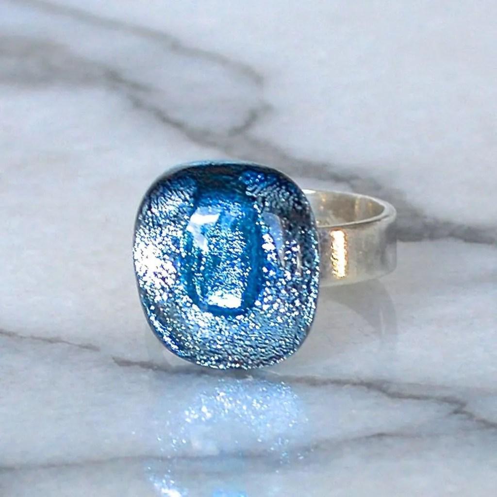 Wickstead's-AW-Designs-UK-Silver-Metallic-Blue-Dichroic-Glass-Ring-(4)