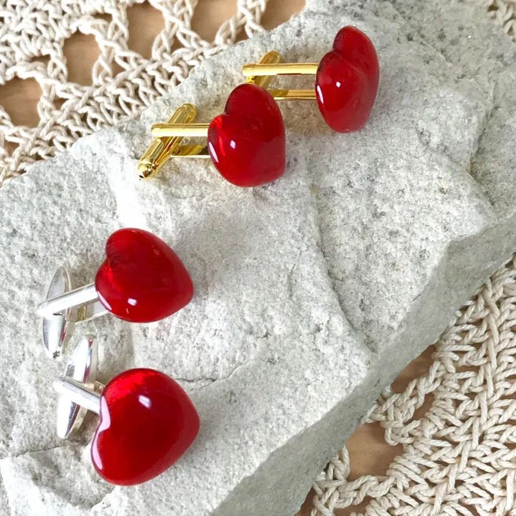 Wicksteads AWDesigns UK Red Heart Glass Cufflinks