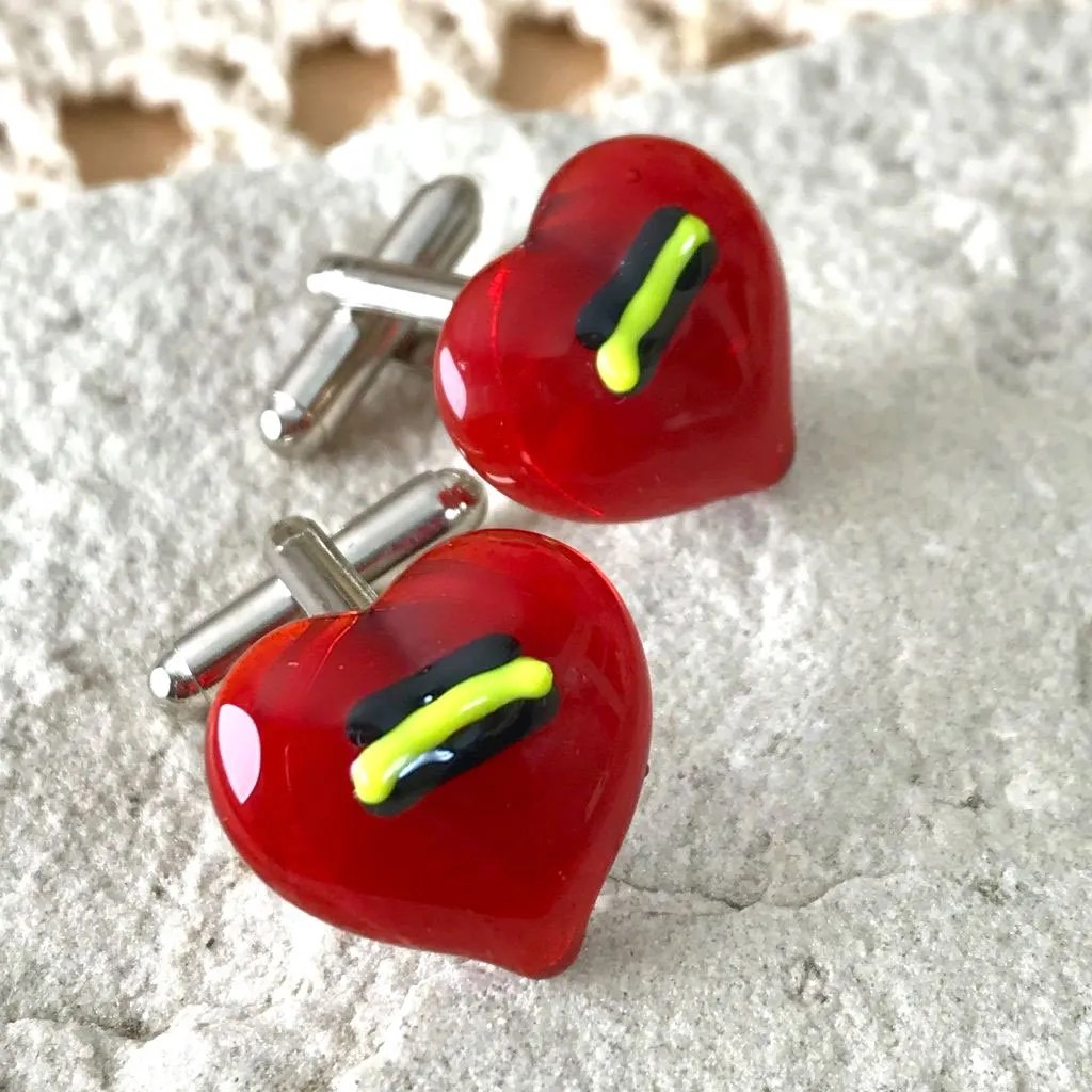 Wickstead's-AWDesigns-Red-Heart-Fused-Glass-Cufflinks-with-Yellow-and-Black-Detailing-(4)