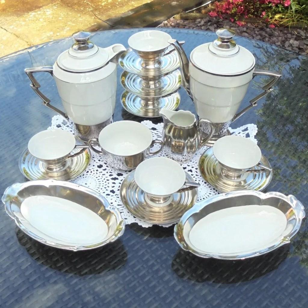 Wicksteads Art Deco Sterling Silver White Porcelain Lightening Bolt Coffee Set