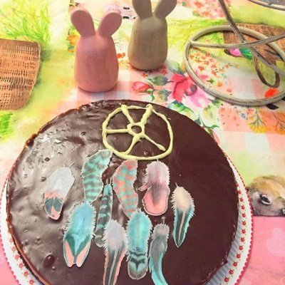 Wickstead's-Customer-Photo-of-our-Cotton-Candy-Feathers-on-a-Chocolate-Cake