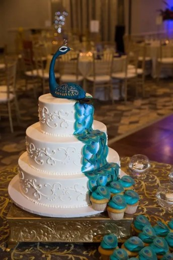 Wickstead's-Eat-Me-Customers-Photos-of-our-Peacock-Feathers-on-a-Wedding-Cake-and-Cupcakes-(3)