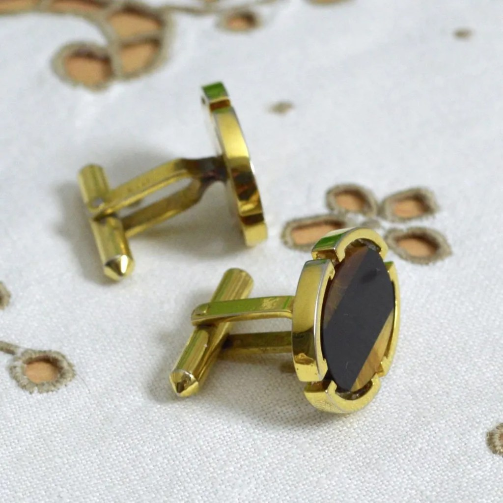 Wickstead's-Mr-Wickstead-Vintage-Cufflinks-Gold-Vermeil-Sterling-Silver-Oval-Black-Onyx-Tigers-Eye-Semi-Precious-Stones-Mosaic-(5)