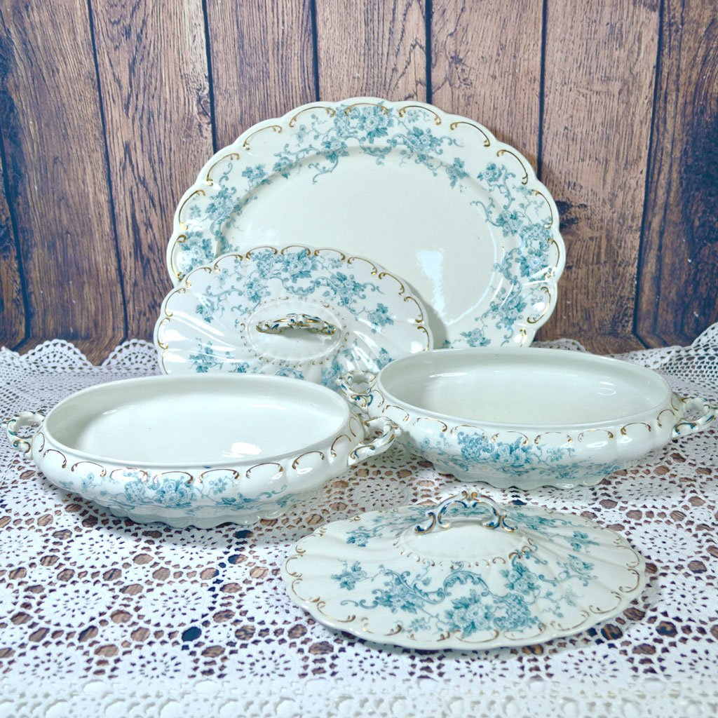 Wicksteads-Home-&-Living-Tableware-Antique-English-Tureens-&-Platter-Set-Blue-White-Floral-Florence-Pattern—(2)