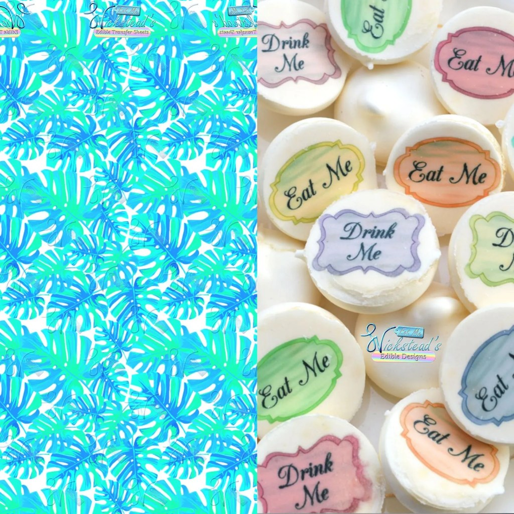Wickstead's-Eat-Me-Edible-Meringue-Transfer-Sheets–Tropical-Turquoise-Leaves-(1)