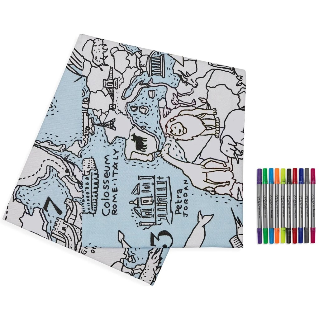 world map tablecloth cutout uncoloured