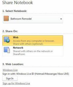 Microsoft OneNote Web Share