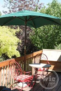 Table, Umbrella, Chairs