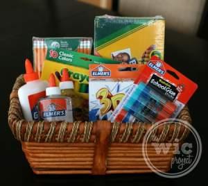Basket of School Supplies