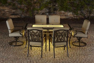 Agio Bella Luna 7pc Lighted Dining Set Brown