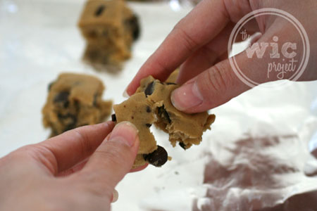 Tear the cookie dough apart.