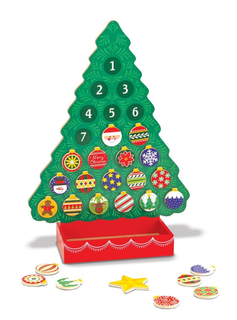 Melissa & Doug Countdown to Christmas Wooden Magnetic Tree Advent Calendar