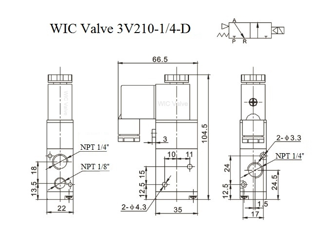directional control solenoid valve, 3 way air valve