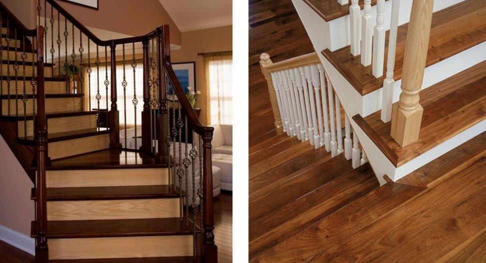 Design Ideas For Stairs To Match Your Custom Hardwood Floors | Hardwood Floor Stair Treads | Wooden | Hand Scraped | Redwood | Pergo Floor | Laminate Flooring
