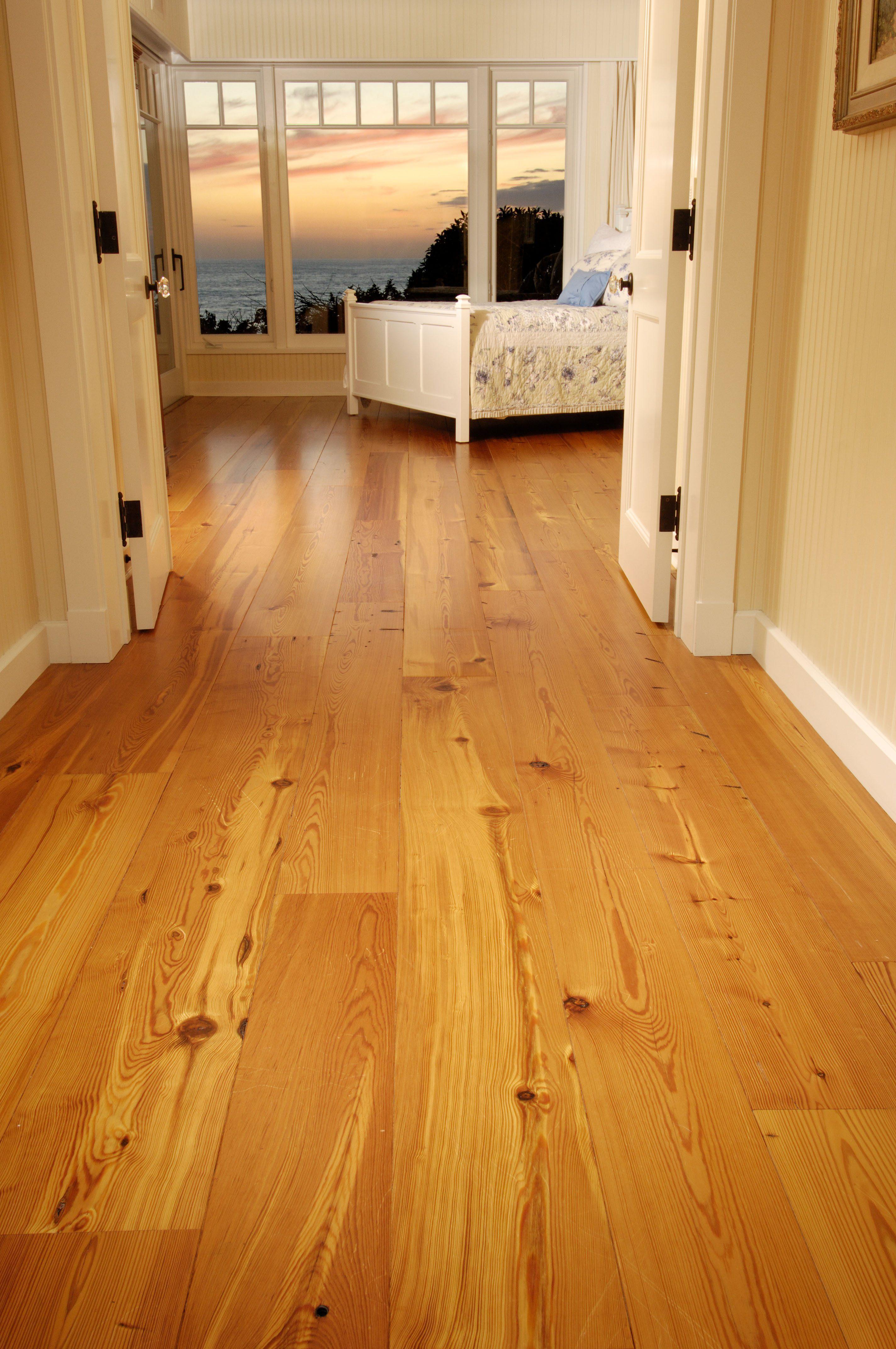 Reclaimed Heart Pine Floors in Oceanfront Bedroom
