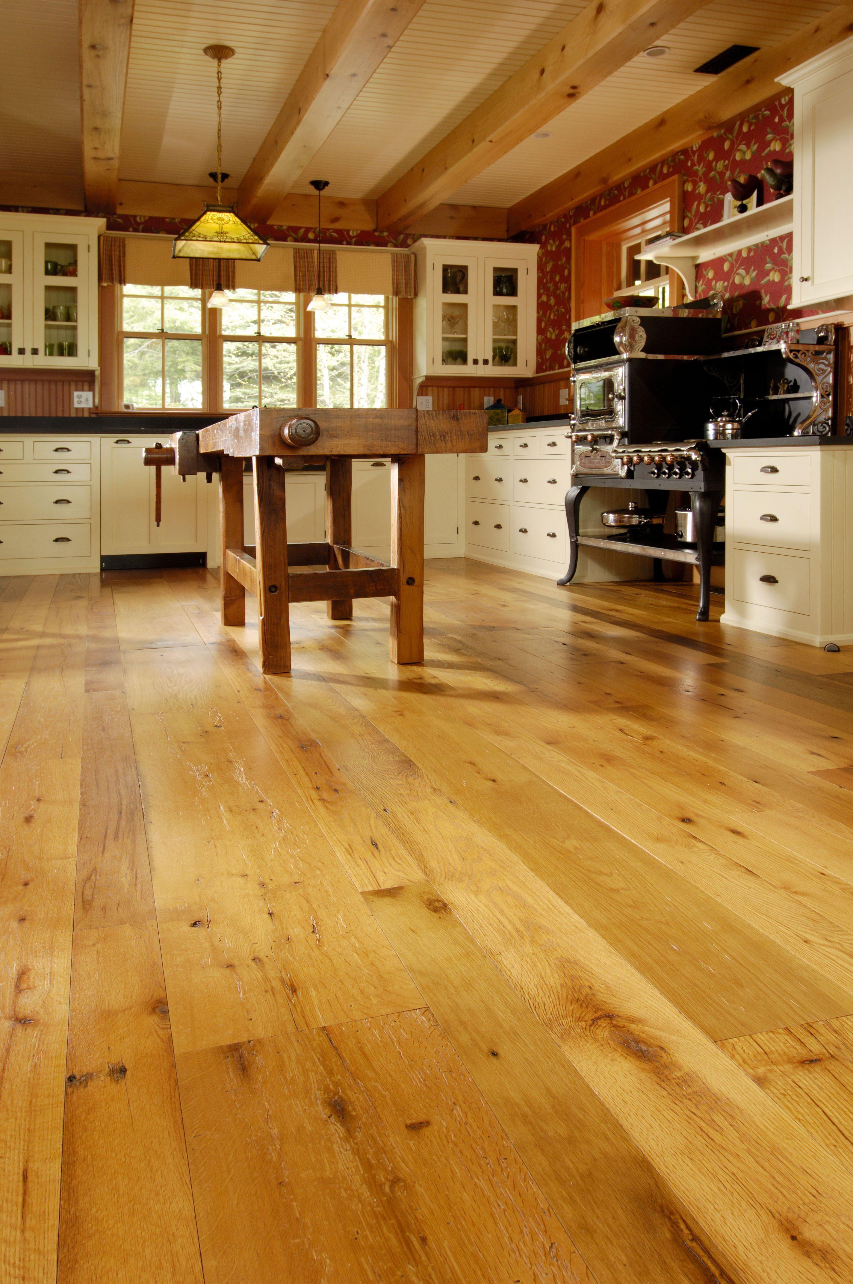 Reclaimed Oak Floors in Kitchen with Radiant Heat