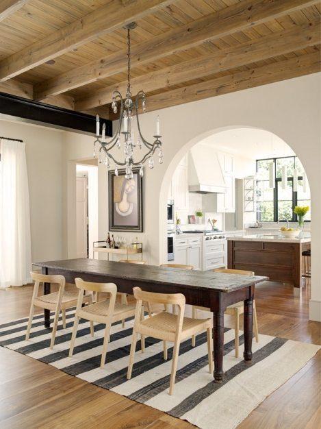 Walnut Flooring in a Transitional Dining Area