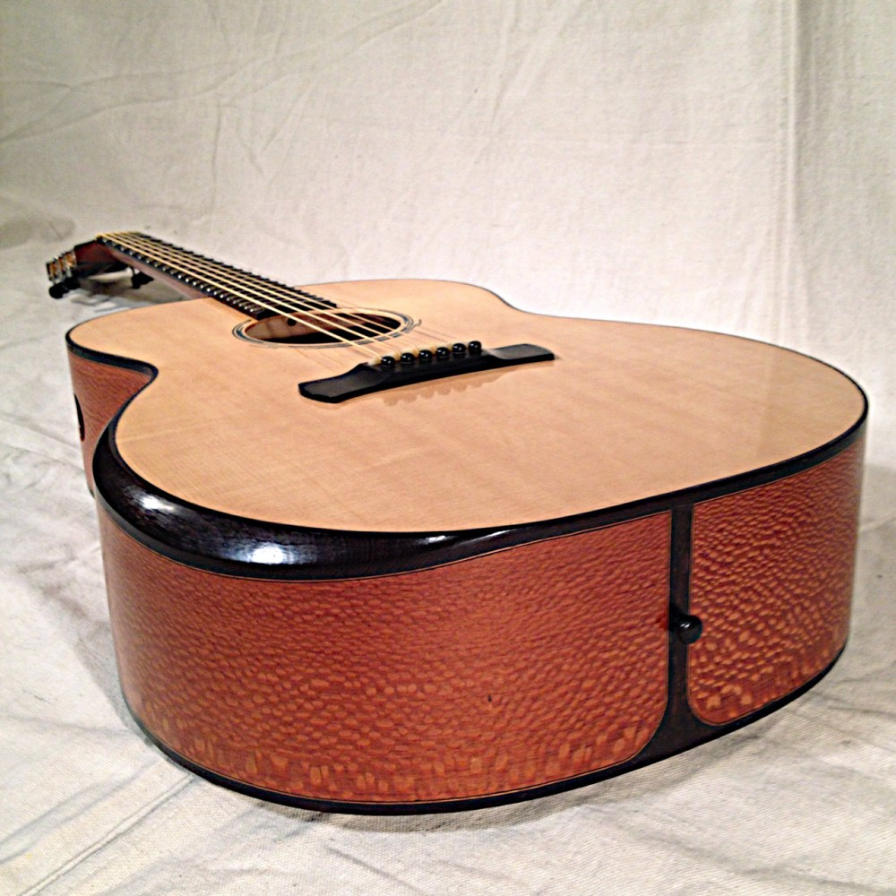 Dreadnought, Sitka Spruce top, Lacewood back and sides with Wenge Arm Bevel and bindings