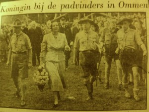 My dad (far right), in the Dutch version of the Boy Scouts, marching with Queen Juliana of the Netherlands - 1950.