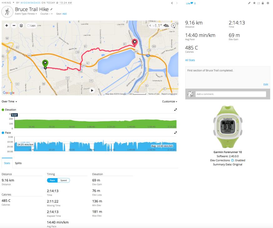 Data from Garmin Forerunner 10 - 1st hike