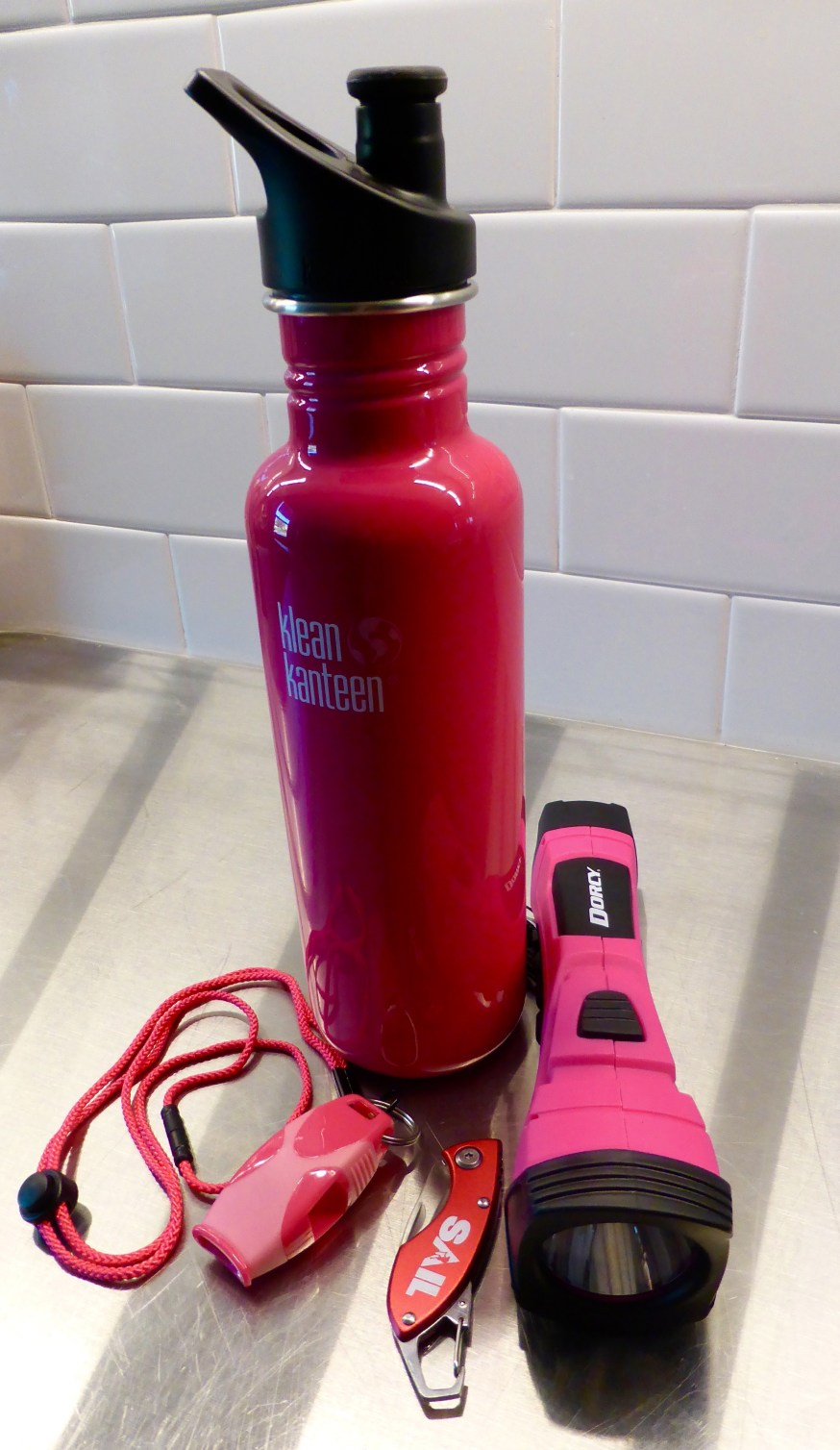Kayaking and hiking gear, colour-coordinated to go with Floyd the Pink Kayak. From Miztah K and Mizz C. So damn nice!!!