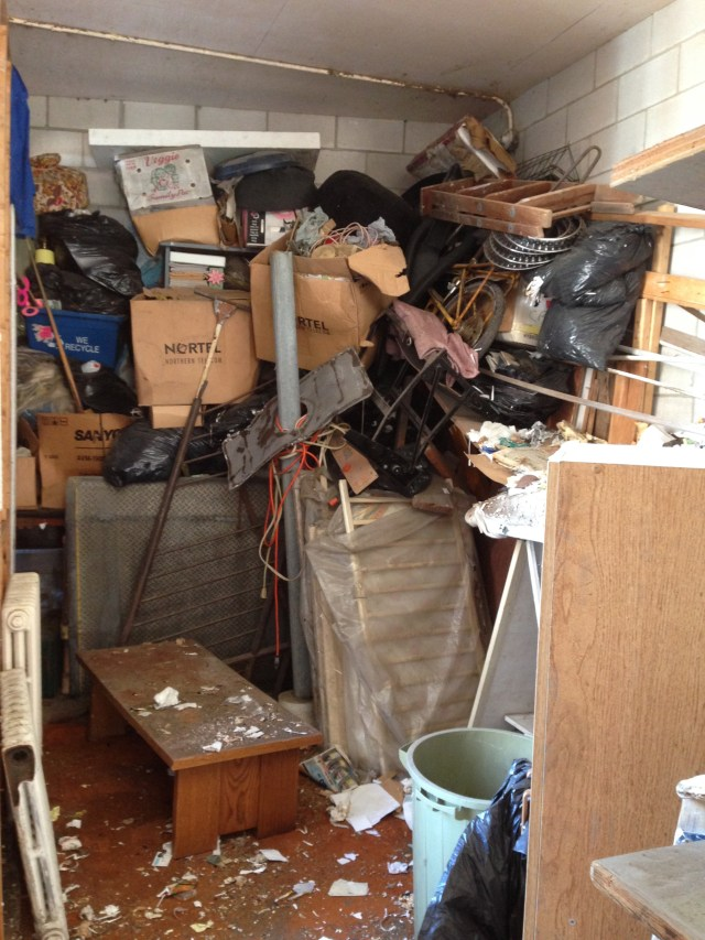 Outside storage room, about 75% cleaned out when this picture was taken.
