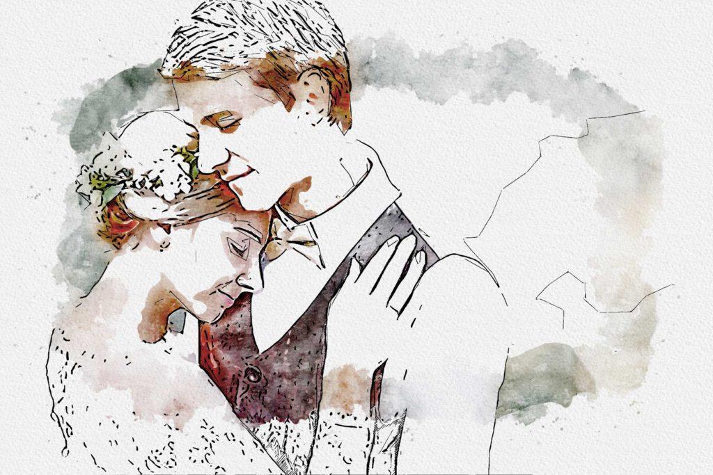 Hochzeitsfoto als Gemlde